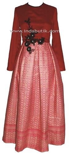 Dress Merah Plus Songket