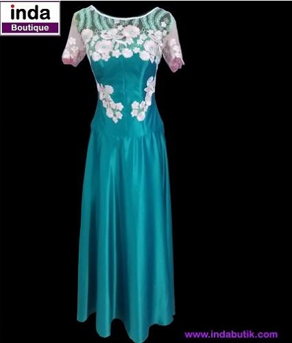 Dress Biru Aplikasi Bunga Pink Ibu Rina