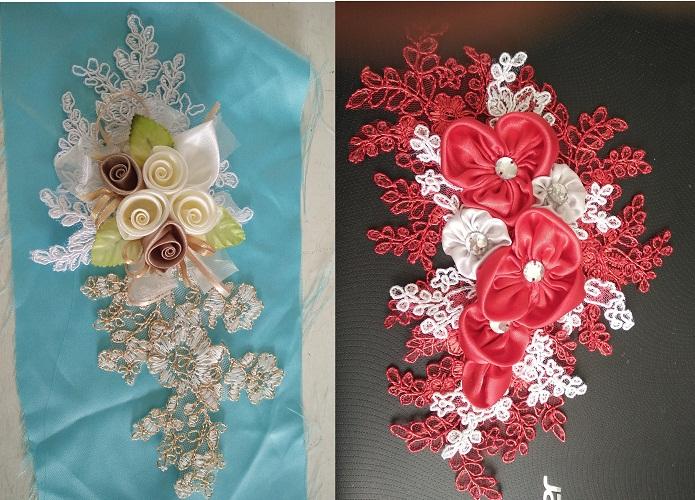 Pembuatan Detail Aplikasi Bunga untuk Dress