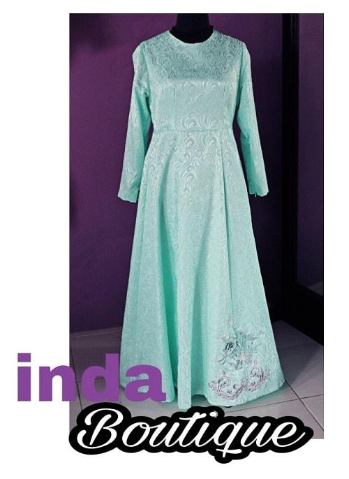 dress muslimah hijau tosca indabutik