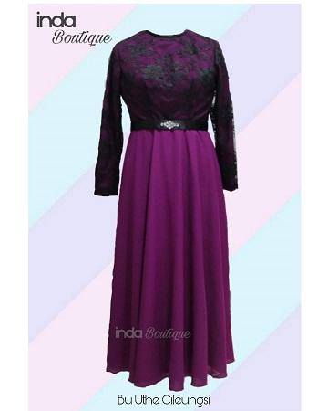 Dress Ungu Cantik untuk Ibu Uthe di Cileungsi by Indabutik