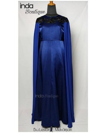 Gaun Biru Keren untuk Ibu Lestari di Mekarsari by Indabutik