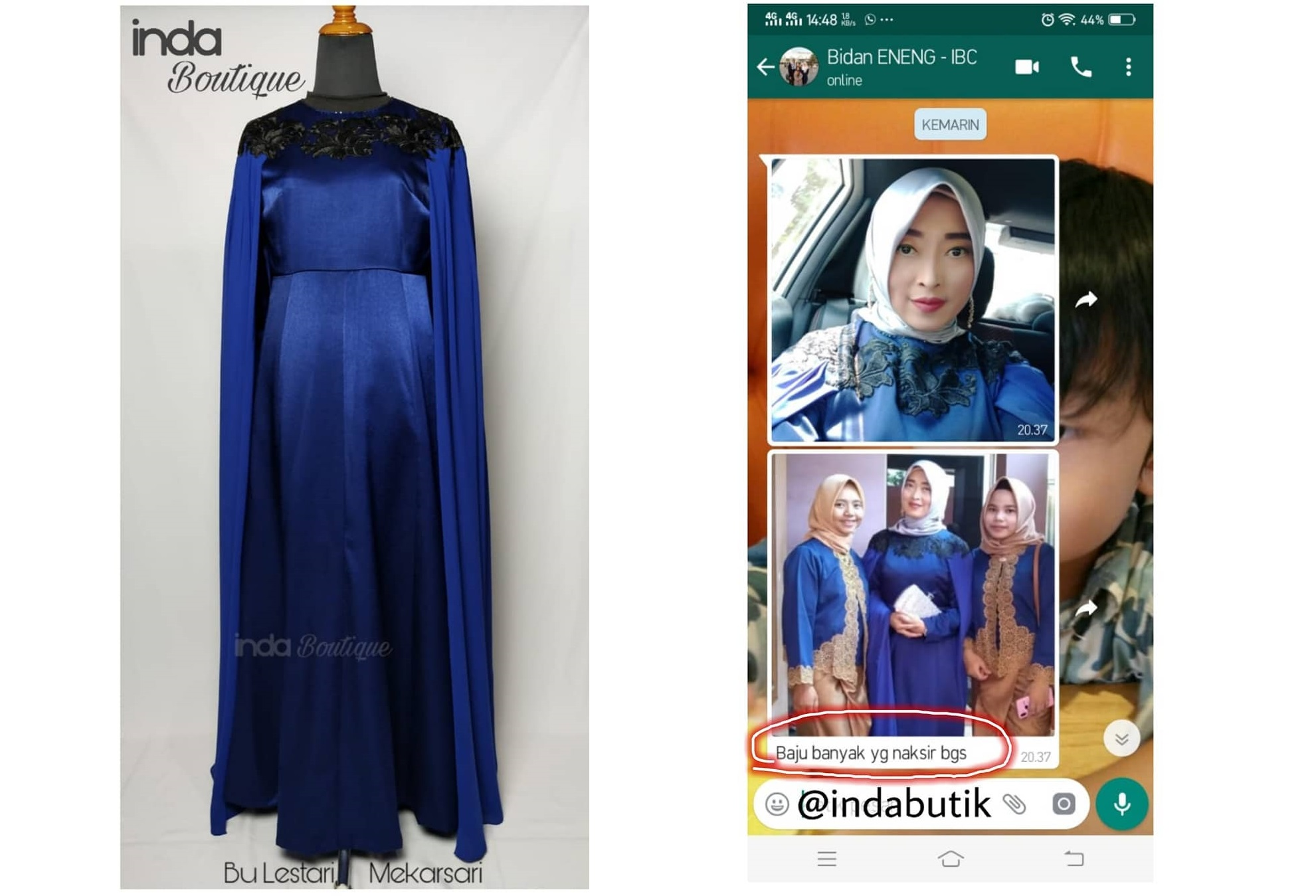 Dress Biru Cantik Pesanan Ibu Lestari di Mekarsari by Indabutik