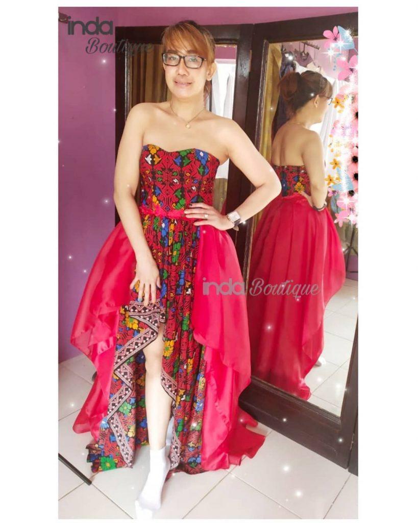gaun merah songket emilia rafles hills cibubur by indabutik